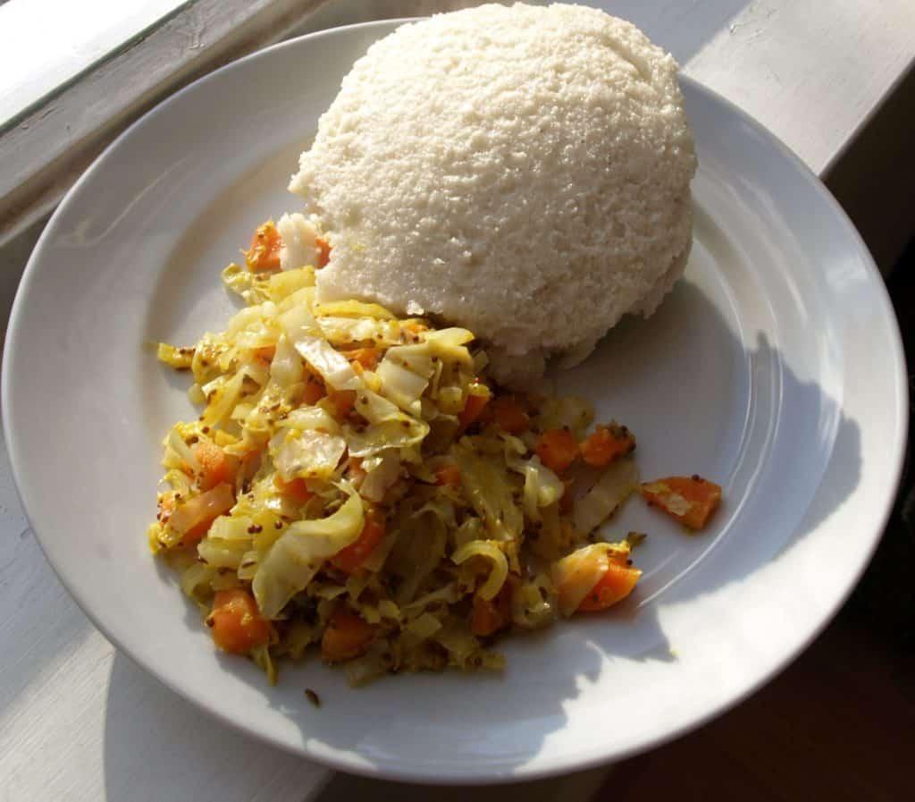 Ugali und Cabbage